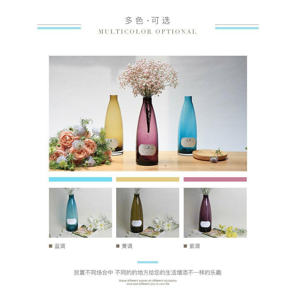歐式 簡約 啤酒瓶玉蘭梔子花繡球花滿天星適用透明 玻璃花瓶
