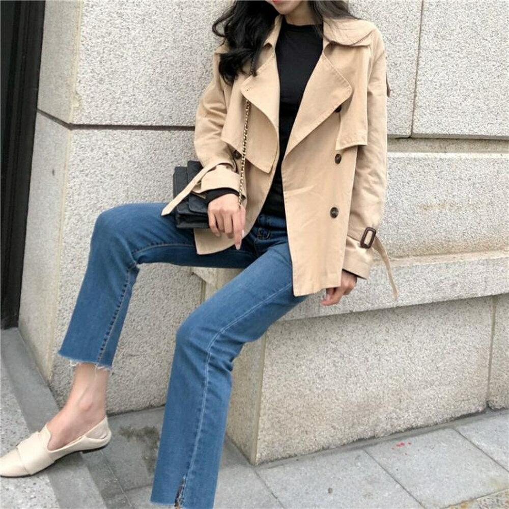 風衣外套 女裝秋冬新款寬鬆雙排扣風衣女韓版純色氣質大翻領短款外套上衣潮 曼慕衣櫃