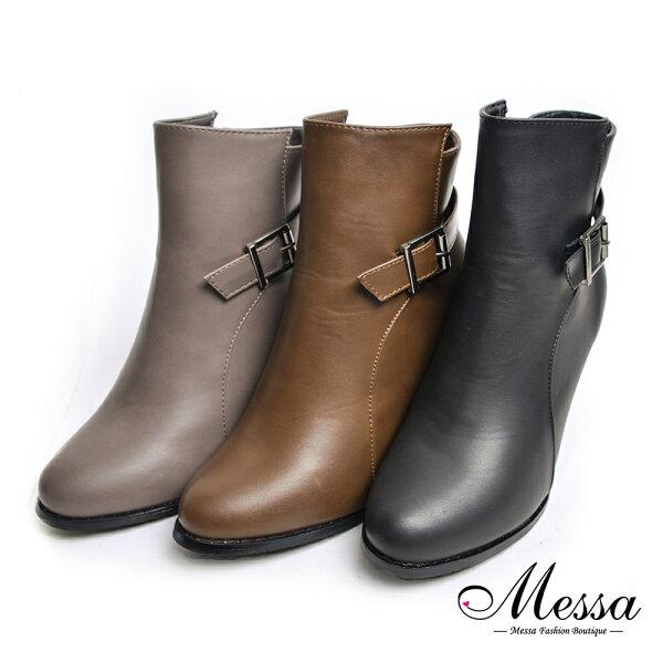 【Messa米莎專櫃女鞋】個性時尚皮帶造型素面圓頭高跟踝靴-三色