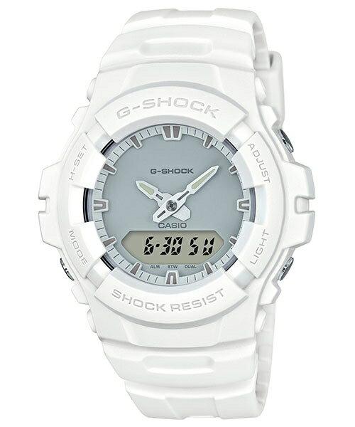 CASIO G-SHOCK G-100CU-7A 流行的軍事風格雙顯時尚腕錶/白