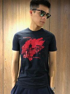 美國百分百【全新真品】ArmaniExchangeT恤AX短袖logo上衣T-shirt深藍J069