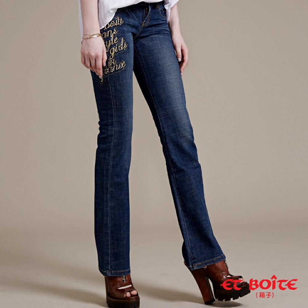 Le Jean金字燙鑽靴型褲 - BLUE WAY ET BOiTE 箱子 - 限時優惠好康折扣