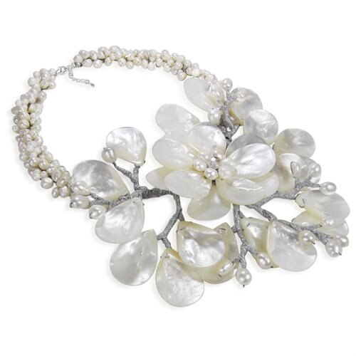 Colossal Floral Mother of Pearl .925 Silver Necklace 1