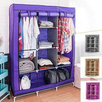 組合衣櫃 衣櫥 衣物收納│超大三排加寬加高8格防塵衣櫥