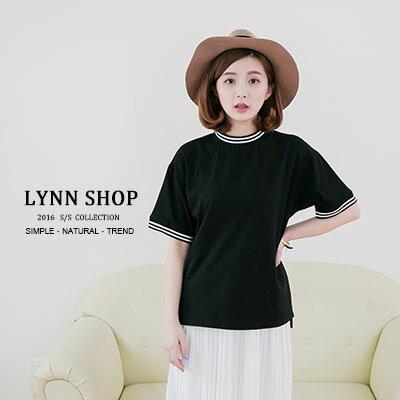 短袖T恤 螺紋撞色黑白圓領短袖T恤 2色~1500183~LYNNSHOP