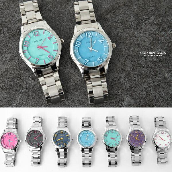 手錶 搶眼立體數字對錶 亮彩繽紛 不鏽鋼腕錶 柒彩年代【NE1994】單支