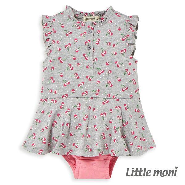 Littlemoni甜美荷葉袖包屁衣-灰色