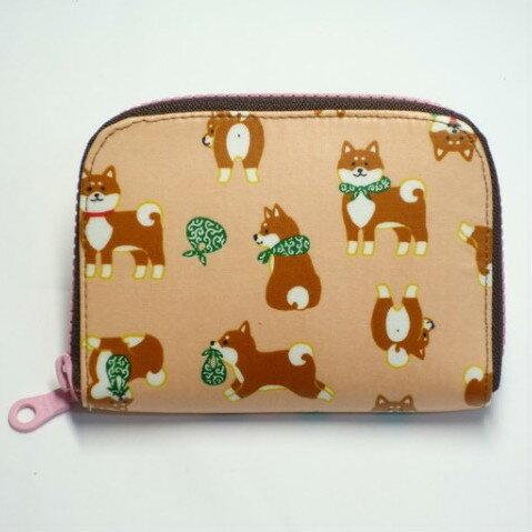 日本柴犬(粉橘) 防水布 短夾 皮夾 錢包 零錢包