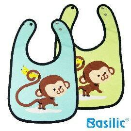 小崴Life親子館【貝喜力克 Basilic】超可愛猴子香蕉 猴子圍兜 (D089) 不添加螢光劑 單扣設計