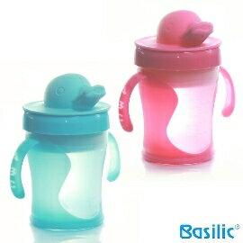 小崴Life親子館【貝喜力克 Basilic】可愛鴨鴨造型 鴨頭握把水杯 (D172) 水杯/喝水杯/學習杯