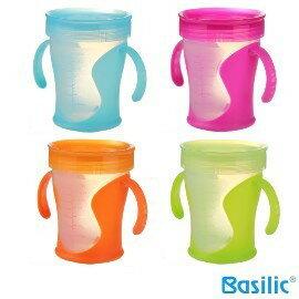 小崴Life親子館【貝喜力克 Basilic】雙口喝水杯-240ml (D112) 台灣製造 專利雙出水孔 學習杯