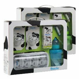 小崴Life親子館【貝喜力克 Basilic】 嬰兒禮盒 (D069) 奶嘴/奶粉盒/圍兜/彌月禮盒