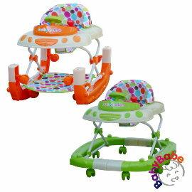 小崴Life親子館【Babybabe】多功能汽車嬰幼兒學步車-綠色/橘色 (B886) 可當搖搖馬遊戲車