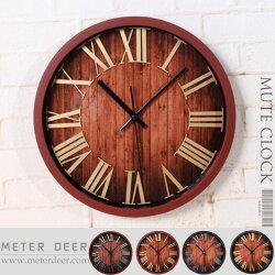創意時鐘 3D立體羅馬數字靜音有框木紋掛鐘 仿金屬質感歐式復古 loft工業風 特色造型個性裝飾時鐘