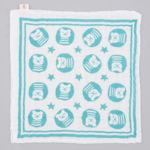日本製 RAINBOW 彩虹熊 六重紗純棉方巾 藍綠色 浴巾 蓬鬆易乾 六層紗*夏日微風*