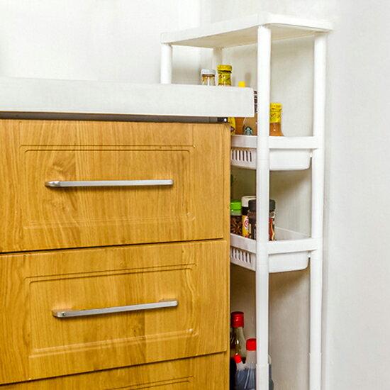 ♚MY COLOR♚縫隙櫃帶輪收納架(四層) 浴室 廚房 多層 置物 分類 洗漱 移動 零食 飲料【A23-1】