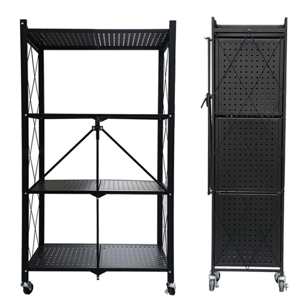 【即刻寄】專利產品 免安裝可摺疊收納架 可移動 三層 四層 黑色