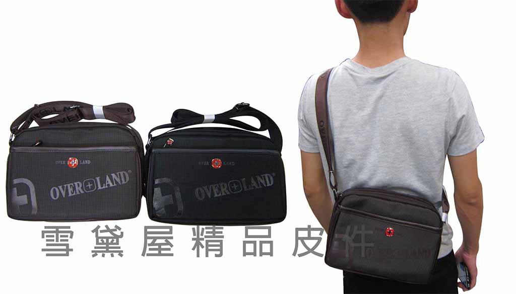 <br/><br/> ~雪黛屋~OVER-LAND 肩側包二層主袋可放平板保護套隨身物品肩背可斜側背防水尼龍布+皮革 #3134(小)<br/><br/>