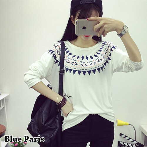 上衣 - 民族風印花寬鬆長袖T恤【29177】藍色巴黎 - 現貨 + 預購 0