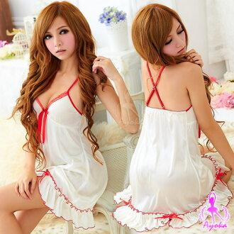 睡衣情趣睡衣性感睡衣【亞娜絲情趣用品】誘情甜心!甜美柔緞睡襯衣#白