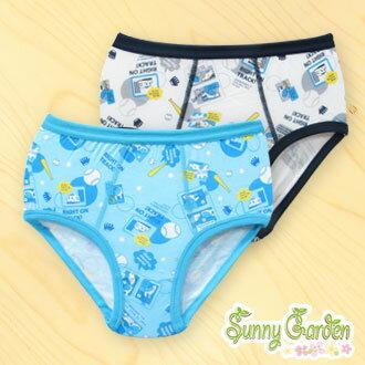 三麗鷗SHINKANSEN男童天然木纖內褲~米色 翠藍色三角褲一入‧滿版棒球系列 ~  好