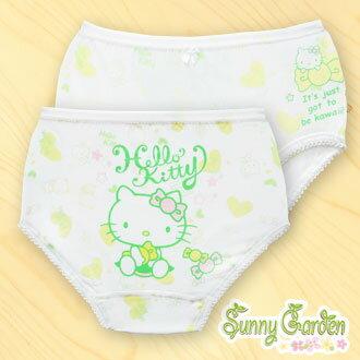三麗鷗Hello Kitty女童天然木纖內褲-綠色-三角褲一入‧糖果系列