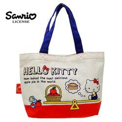 【日本正版】凱蒂貓 帆布 手提袋 便當袋 Hello Kitty 三麗鷗 Sanrio - 442989