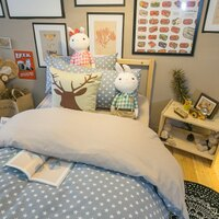居家生活寢具推薦床包 被套 兩用被  單人床包組/雙人床包組  台灣製造 棉床本舖 [ 北歐星星藍色 ] 好窩生活節。就在棉床本舖Annahome居家生活寢具推薦