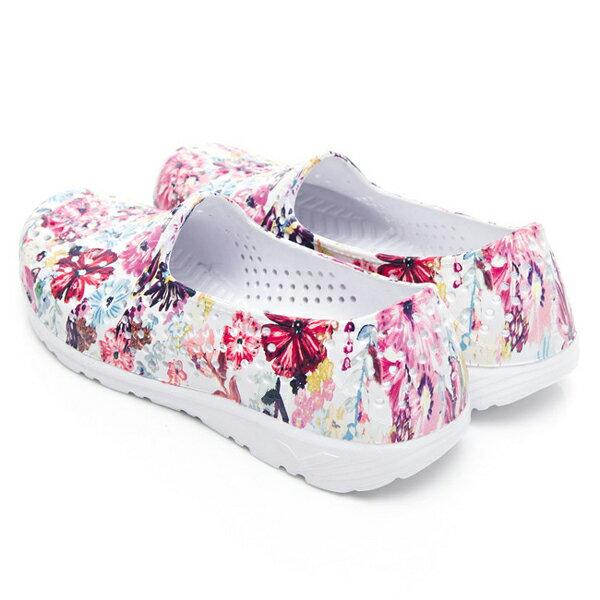 《2019新款》Shoestw【92K1SA08PK】PONY TROPIC 水鞋 童鞋 中大童鞋 軟Q 防水 洞洞鞋 五彩花卉白 親子鞋 3
