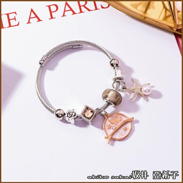『坂井.亞希子』貓咪海星造型水晶串珠鋼線可調式手環-粉色