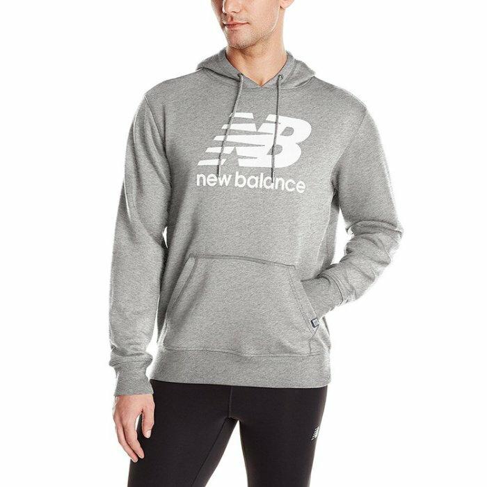 美国百分百【全新真品】New Balance 连帽 上衣 帽T 纽巴伦 复古运动 T恤 长袖 麻灰 S M号 I553
