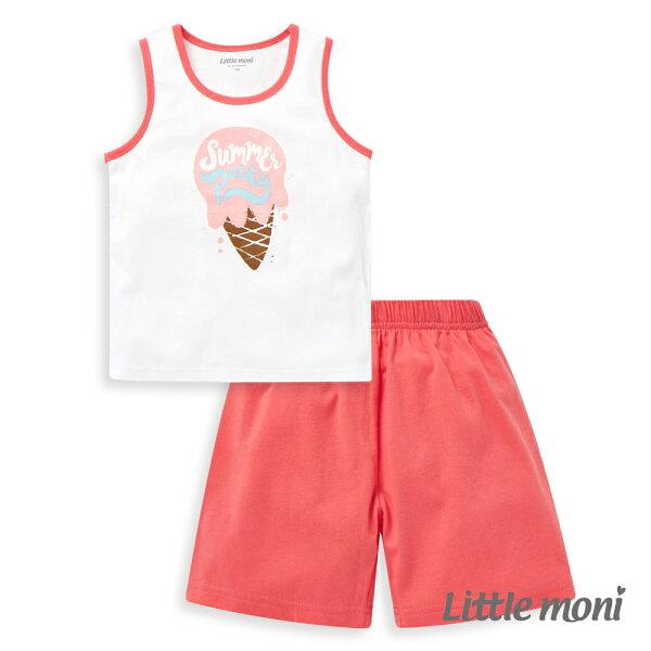 Littlemoni家居系列背心套裝-玫瑰紅