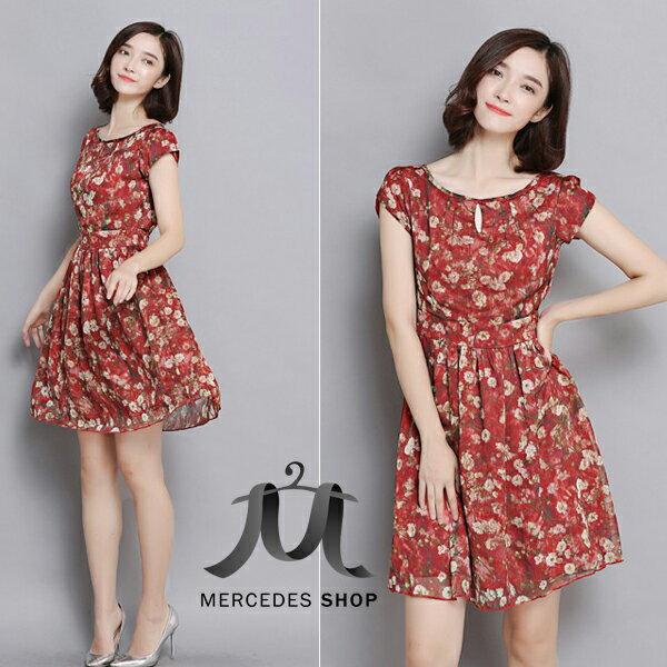 梅西蒂絲Mercedes Shop:《現貨出清5折》滿版花卉飄逸雪紡洋裝-S-3XL-梅西蒂絲(現貨+預購)