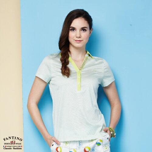 【FANTINO】女裝 夏日清新感80支雙絲光棉polo衫 (粉綠、紅) 571101-571102 0