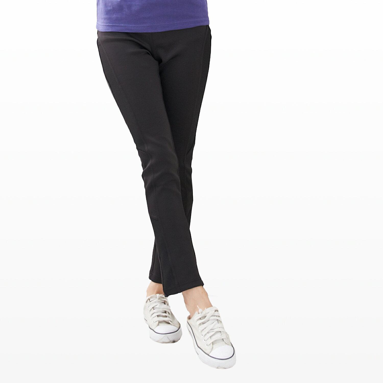 長褲--運動休閒最佳單品羅紋拼接設計超彈性透氣排汗長褲(黑2L-5L)-P48眼圈熊中大尺碼 1