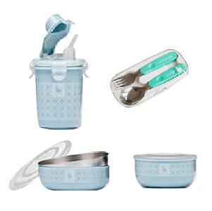 美國【Kangovou】 小袋鼠不鏽鋼安全兒童餐具簡配組(野莓藍)+不鏽鋼湯叉組