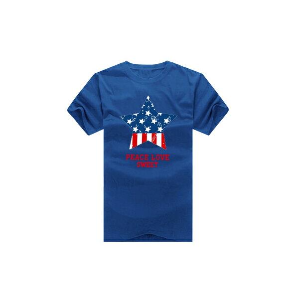 T恤 情侶裝 客製化 MIT台灣製純棉短T 班服◆快速出貨◆獨家配對情侶裝.藍紅圓圈星星【YC229】可單買.艾咪E舖 2