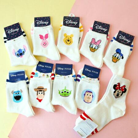 韓國 迪士尼系列白底造型四分襪 米妮 唐老鴨 黛西 維尼 小豬 短襪 襪子 造型襪 流行襪【N202176】
