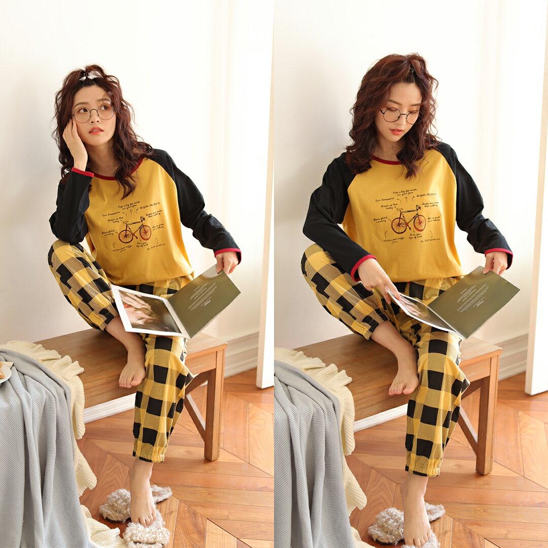 腳踏車格子褲長袖束口居家服(衣+褲) 精梳棉落肩款套裝 M-XL【漫時光】(21050) 3