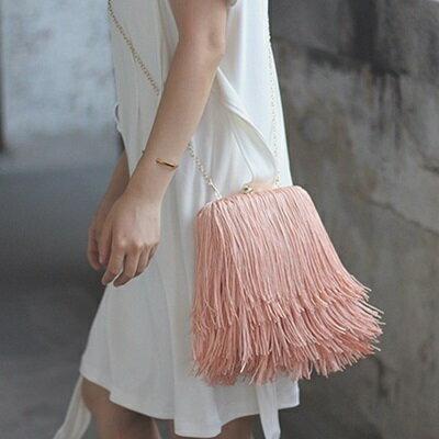肩背包流蘇斜背包-酷炫有型獨家時尚女包包2色73so11【獨家進口】【米蘭精品】
