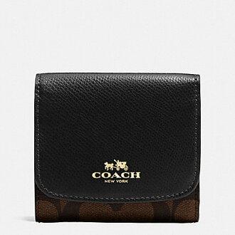 【蟹老闆】COACH 國際精品 大c緹花皮革 燙金logo 多卡短夾/小錢包 含零錢袋 黑 F53837