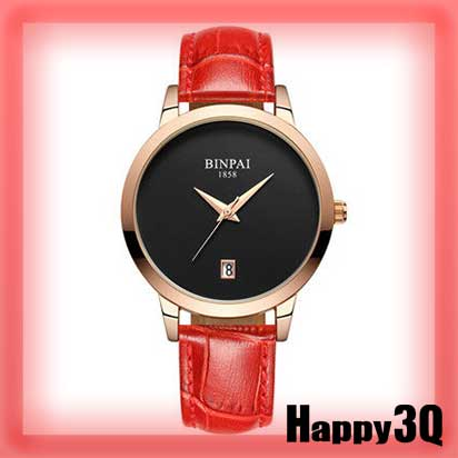 簡約奢華防水日曆顯示耐用真皮手錶女錶-白/紫/紅/黑面/白面【AAA0603】