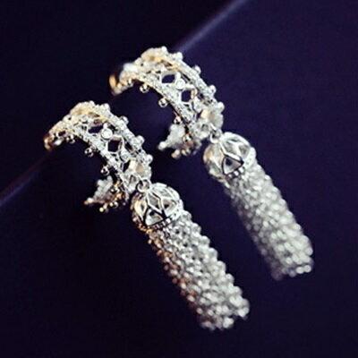 925純銀耳環鑲鑽耳飾~ 名媛流蘇情人節生日 女飾品73du42~ ~~米蘭 ~