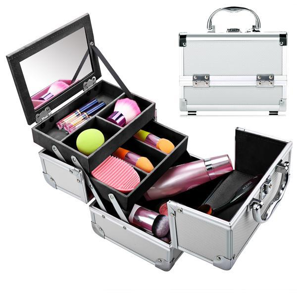 Mini Portable Aluminum Cosmetic Box + Mirror + 2 Keys 1