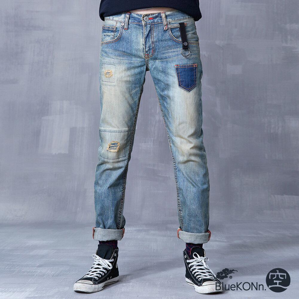 【5折限定↘】BlueKONn.  復古口袋中低腰直筒褲(淺藍)【0218-0222全店滿千折100,再加碼點數20倍送】 - 限時優惠好康折扣