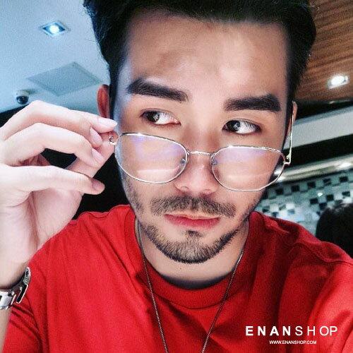 惡南宅急店【0041M】金屬切角平光眼鏡韓版金屬架網紅周揚青同款眼鏡平光眼鏡