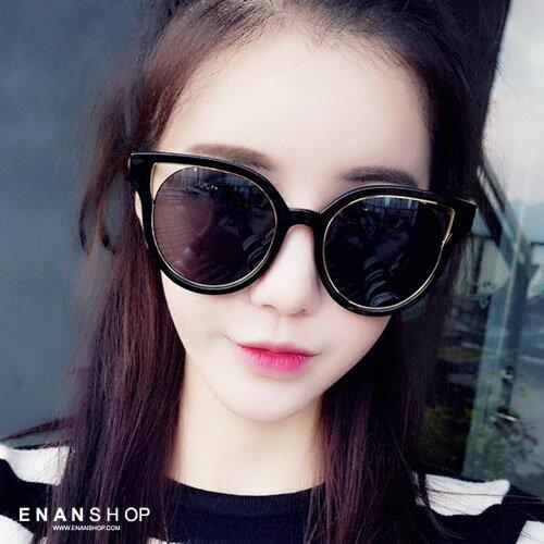 惡南宅急店【0046M】貓眼復古圓框墨鏡歐美款誇張太陽眼鏡墨鏡太陽眼鏡