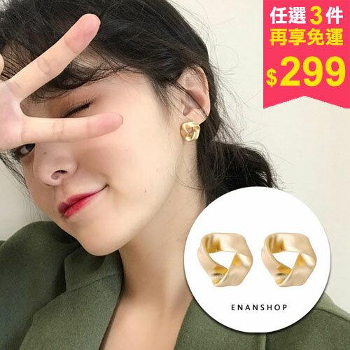梅比斯三角耳環韓國氣質耳環可加費改無耳洞耳夾扭轉耳環惡南宅急店【0334D】