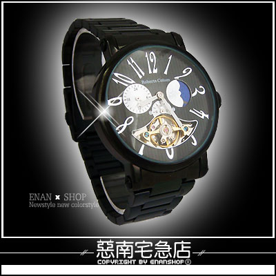 惡南宅急店【0083F】真三眼日月機械錶『Roberta錶款』可當情侶對錶。單款區《送禮盒》