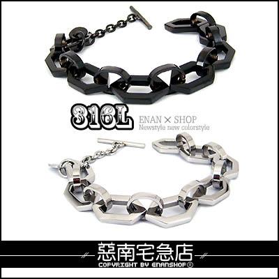 惡南宅急店【0176B】西德鋼手環『DK6角鋼手鍊』獨家2色可當情侶對鍊。單調價